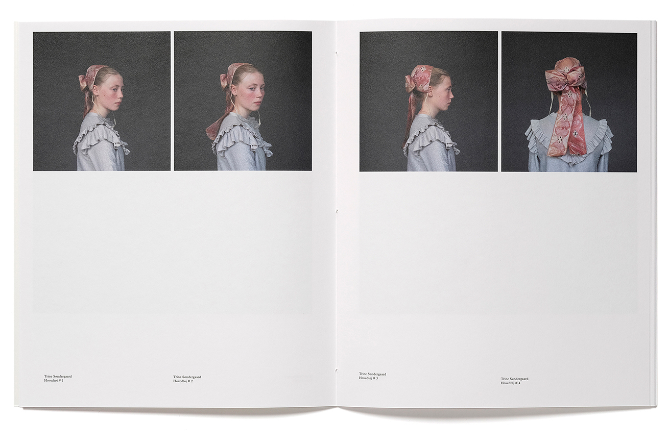 Spread from with series of portraits from the book Hovedtøj by Trine Søndergaard