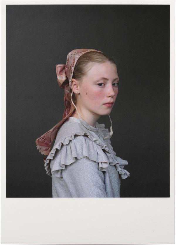 Card with one of Trine Søndergaard's pictures from her exhibition at Skive Museum. The image is a portrait of a young girl wearing a historical garment