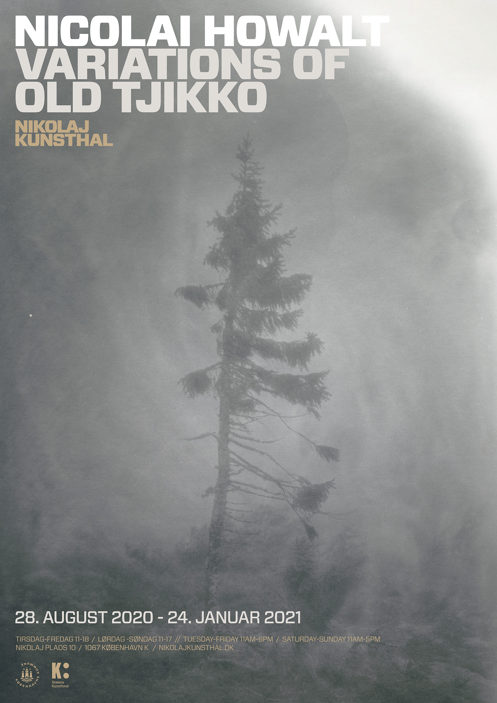 Exhibition poster featuring an image of the tree Old Tjikko by artist Nicolai Howalt