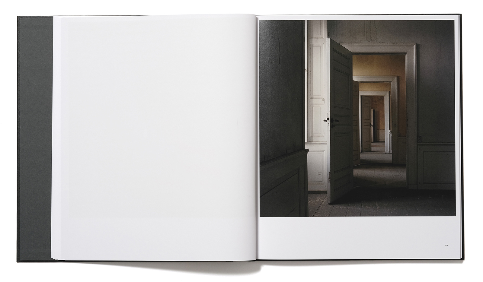 Spread from the book Stasis II by Trine Søndergaard with interior photograph